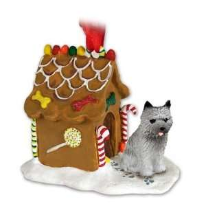 Cairn Terrier Gray Ginger Bread Dog House Ornament