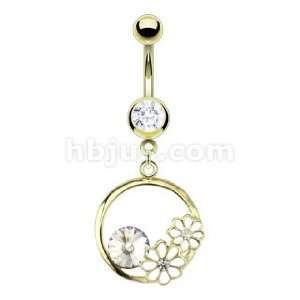 IP Steel Double White Epoxy CZ Flower with Crystal Loop Navel Ring