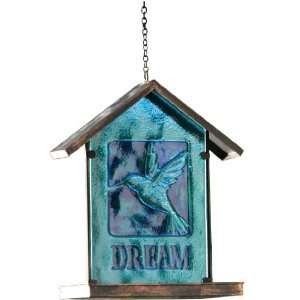 Glass Hanging Bird Feeder, Aqua, 11 Inches Tall Patio, Lawn & Garden