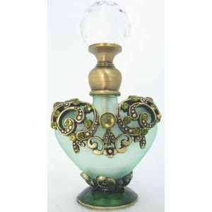 Glass Perfume Bottle Green Heart Shape Crystal Lid