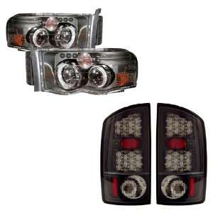 02 05 Dodge Ram Black CCFL Halo Projector Headlights + LED Tail Lights
