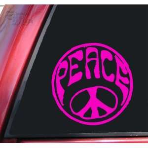 Hippy Peace Sign Vinyl Decal Sticker   Hot Pink Automotive