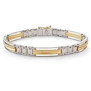 14k Two Toned Gold Fancy Link Mens Bracelet (8) Jewelry
