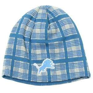 Detroit Lions NFL Reebok Team Apparel Blue & Gray Plaid Knit Beanie