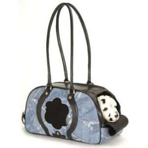 Isabella Blue Jean Design Leather Pet Carrier