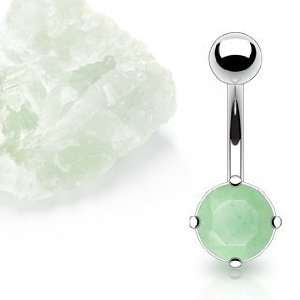 Surgical Steel Prong Set Belly Ring with Solid Semi Precious Stone
