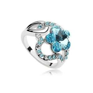 Blue Crystal Plum Flower Cocktail Ring Jewelry