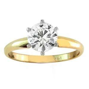 18k Yellow Gold Round Diamond Solitaire Engagement Ring (1