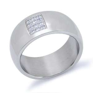 Mens Stainless Steel Cubic Zirconia Ring Size 9 Jewelry