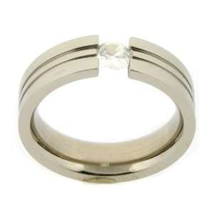 Stainless Steel Ring Band CZ Diamond Grooved Polish Finish (6mm) Width