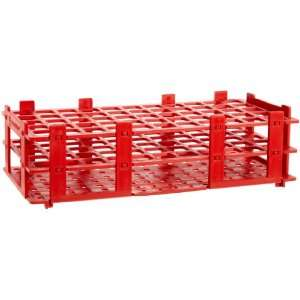 4340012 18mm 55 Tubes Red Polypropylene Test Tube Rack, 5 x 11 Tube