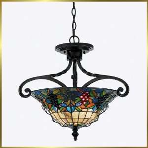 Tiffany Chandelier, QZTFFR1719VA, 3 lights, Antique Bronze, 20 wide X