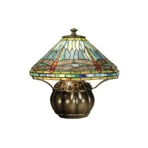 com Dale Tiffany TT50218 Darius Table Lamp, Brass and Art Glass Shade