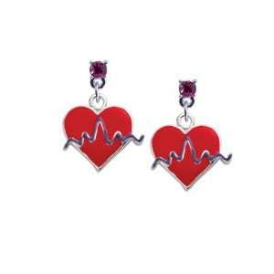 Red Heart with Rhythm Line Hot Pink Swarovski Post Charm