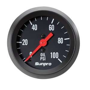 StyleLine Mechanical Oil Pressure Gauge   Black Dial Automotive