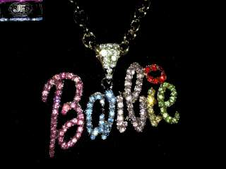 Nicki Minaj 2 BARBIE Iced Out Necklace Gold/Multi