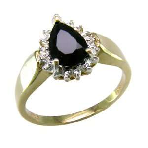 Diamond and Black Onyx Pear Shaped Ring (SZ 10) Jewelry