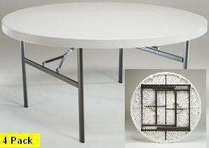 New 2970 4 Pack Lifetime 60 White Round Folding Table