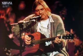 NIRVANA MTV UNPLUGGED ASIAN POSTER   KURT COBAIN PLAYING GUITAR