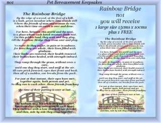Rainbow Bridge no1 Pet Bereavement Grave Card keepsake