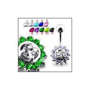 Pink Jeweled Sun Belly Ring Body Jewelry Jewelry
