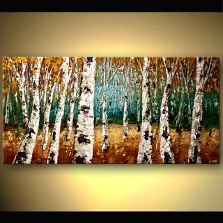 Birch Tree Art ORIGINAL Abstract Landscape Painting w Palette Knife