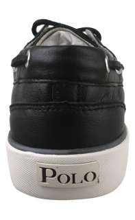 Polo by Ralph Lauren Mens Boat Shoes Sander Soft Leather Black