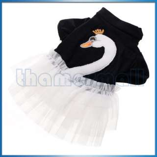 Pet Dog Ruffle Tulle Skirt Dress Apparel Clothing w/ White Swan